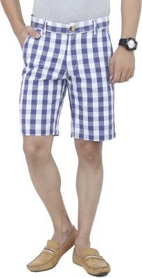 Yuvi Checkered Men's Blue, White Bermuda Shorts