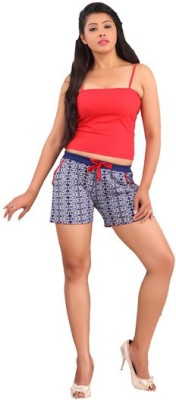 Red Rose Printed Women's Blue Bermuda Shorts