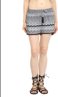 Label VR Printed Women's Black, White Basic Shorts