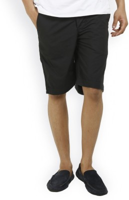 Truccer Basics Solid Men's Black Basic Shorts