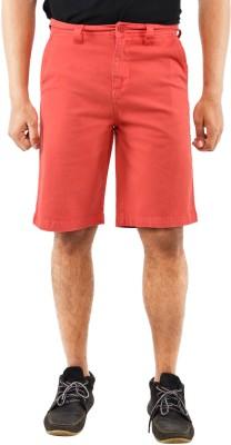 Blue Wave Solid Men's Red Basic Shorts