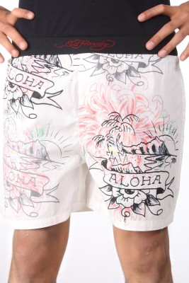 SRS Printed Women's White Boxer Shorts
