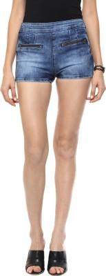 GOFAB Self Design Women,s Light Blue Denim Shorts