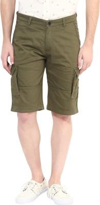 Silver Streak Solid Men,s Green Cargo Shorts