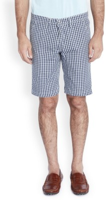 Parx Checkered Men's Dark Blue Basic Shorts