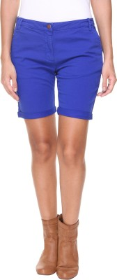 Alibi By Inmark Solid Women's Light Blue Basic Shorts