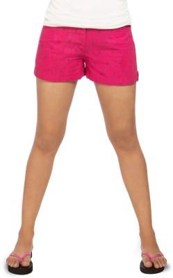 Idiot Theory Printed Women's Pink Basic Shorts