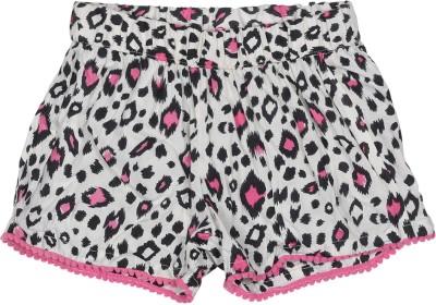 Addyvero Printed Girl's White, Pink Basic Shorts