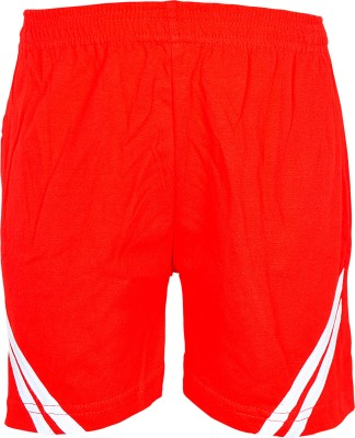 Gee & Bee Solid Boy's Red Sports Shorts