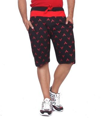 Black Casual Printed Men's Black Basic Shorts