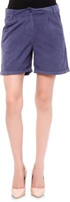 Oxolloxo Solid Women's Blue Basic Shorts