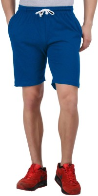 Checker S Bay Solid Men's Blue Basic Shorts