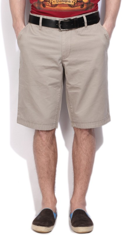 Flying Machine Solid Men's Brown Basic Shorts