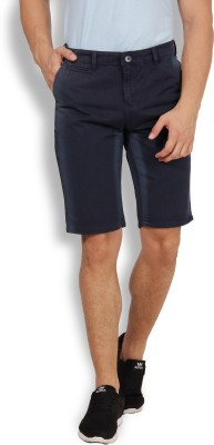 I-Voc Solid Men's Dark Blue Chino Shorts