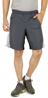 T10 Sports Solid Men's Grey Sports Shorts