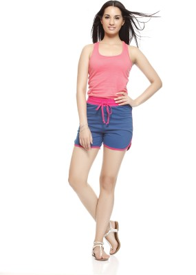 Gritstones Solid Women's Pink, Blue Basic Shorts