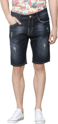 Super-X Solid Men's Blue Denim Shorts