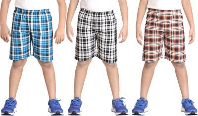 Dongli Checkered Boy's Multicolor Basic Shorts
