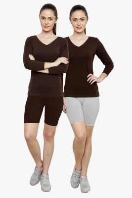 Softrose Solid Women's Brown, Grey Cycling Shorts