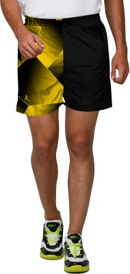 Proplay Printed Men's Black Sports Shorts