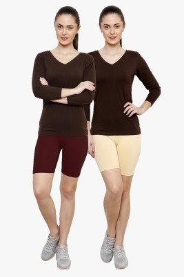 Softrose Solid Women's Maroon, Beige Cycling Shorts