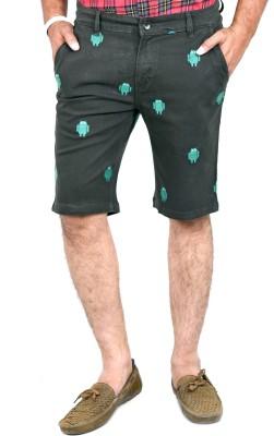 Indigen Embroidered Men's Dark Green Chino Shorts