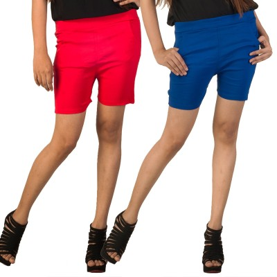 Berries Solid Women's Red, Blue Hotpants