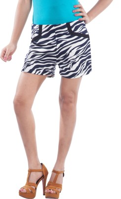 TrendBAE Printed Women's Blue, White Basic Shorts