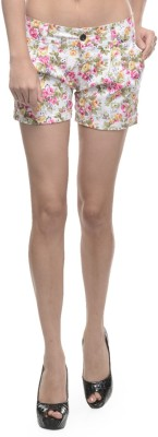 Sobre Estilo Floral Print Women's White, Pink Hotpants