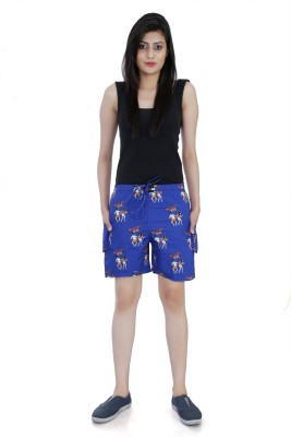 Flamboyant Printed Women's Dark Blue Denim Shorts at flipkart