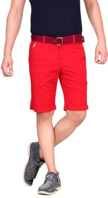 King & I Solid Men's Red Chino Shorts