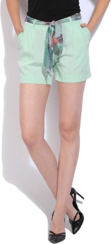 Wills Lifestyle Solid Women's Light Blue Basic Shorts