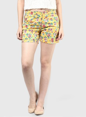 Honey By Pantaloons Printed Women's Yellow Basic Shorts at flipkart