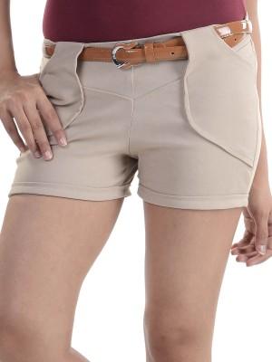 Vea Kupia Solid Women,s Brown Basic Shorts