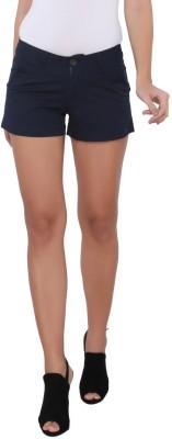 Again? Vintage Solid Women's Dark Blue Chino Shorts