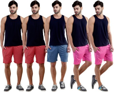 Dee Mannequin Self Design Men's Red, Red, Dark Blue, Pink, Pink Sports Shorts
