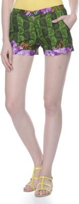 Lavennder Printed Women's Green Basic Shorts