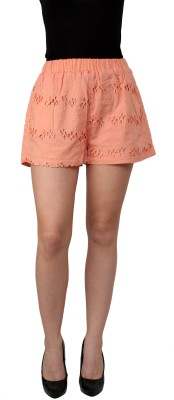 I Am For You Embroidered Women's Orange Basic Shorts