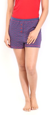 Gossip by Dressberry Printed Women's Blue Basic Shorts at flipkart