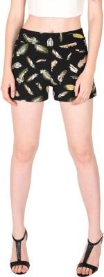Sassafras Animal Print Women's Black High Waist Shorts
