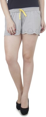 Hapuka Solid Women's Grey High Waist Shorts