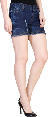 Coffee Bean Self Design Women's Dark Blue Denim Shorts