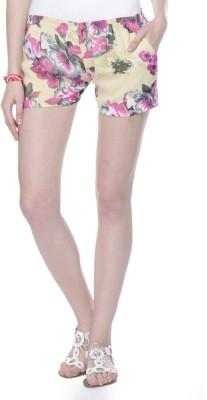 Lavennder Floral Print Women's Beige Basic Shorts