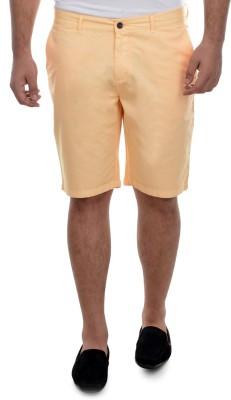 nuluk Solid Men's Orange Chino Shorts