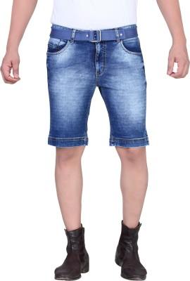 King & I Solid Men's Blue Denim Shorts