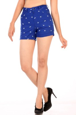 Abony Printed Women's Blue Basic Shorts
