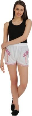 Holidae Embroidered Women's White Basic Shorts