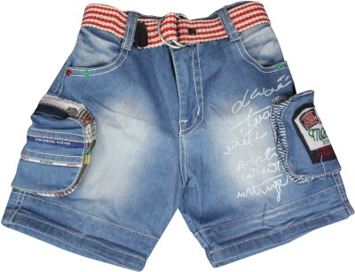 Mankoose Applique Girl's Denim Blue Denim Shorts