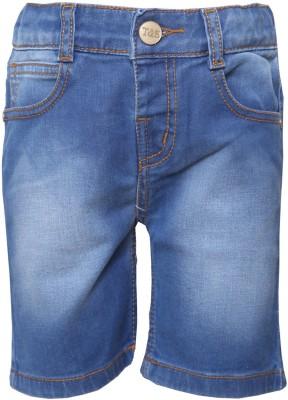 Tales & Stories Solid Baby Boy,s Denim Blue Bermuda Shorts