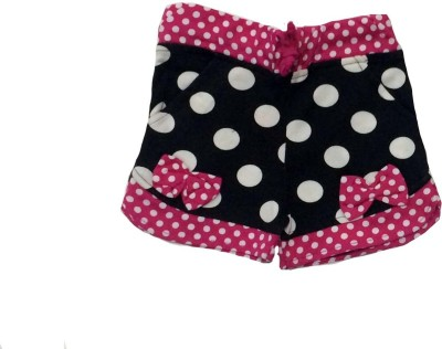 Tomato Polka Print Girl's Black, Pink Basic Shorts
